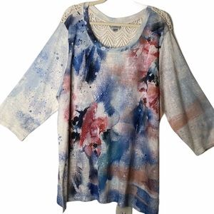 Avenue Floral Top ¾ sleeve 22/24